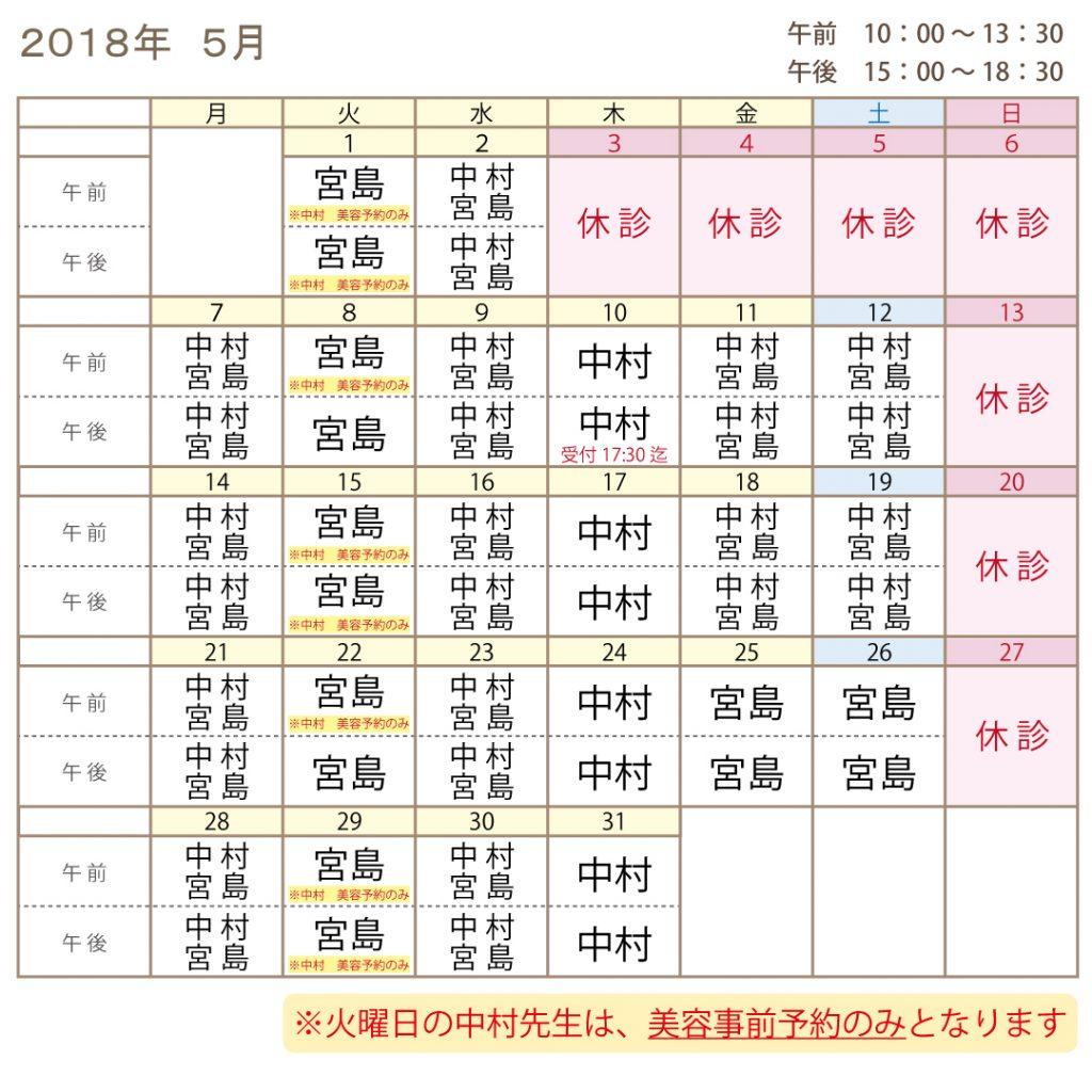 2018年5月の医師診察表